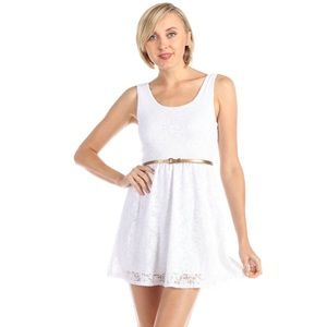 All Over Floral Lace Tank Top Skater Dress White